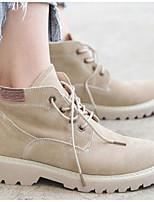 Недорогие -Жен. Комфортная обувь Замша Наступила зима Ботинки На толстом каблуке Ботинки Черный / Хаки