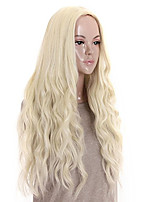 Недорогие -Парики из искусственных волос Кудрявый / Свободные волны Стрижка боб / Средняя часть Искусственные волосы 26 дюймовый Для вечеринок / Классический / синтетический Блондинка Парик Жен. Длинные