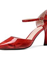 Недорогие -Жен. Комфортная обувь Наппа Leather Лето Обувь на каблуках На шпильке Серый / Красный / Миндальный