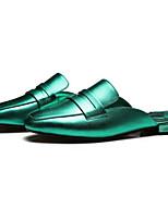 Недорогие -Жен. Комфортная обувь Кожа / Полиуретан Весна лето Тапочки и Шлепанцы На плоской подошве Зеленый / Синий / Розовый