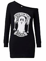 baratos -Mulheres Básico Bainha / Camiseta Vestido - Patchwork / Estampado, Geométrica Acima do Joelho