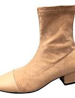Недорогие -Жен. Fashion Boots Полиуретан Осень Ботинки Блочная пятка Квадратный носок Черный / Миндальный