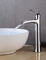Недорогие -Ванная раковина кран - Водопад / Широко распространенный Хром / Живопись По центру Одной ручкой одно отверстие