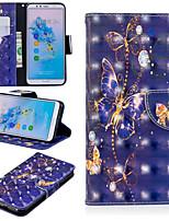 abordables -Coque Pour Huawei Mate 10 lite / Huawei Mate 20 Pro Portefeuille / Porte Carte / Avec Support Coque Intégrale Papillon Dur faux cuir pour Huawei Nova 3i / Huawei P Smart Plus / Honor 7A