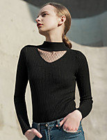 Недорогие -Жен. Классический Пуловер - Однотонный, Пэчворк