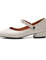 Недорогие -Жен. Балетки Наппа Leather Осень Обувь на каблуках На толстом каблуке Черный / Бежевый