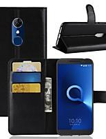 billiga -fodral Till Alcatel Alcatel 3 / Alcatel 1 Plånbok / Korthållare / Lucka Fodral Enfärgad Hårt PU läder för Alcatel 5044r / Alcatel 3 / Alcatel 3C