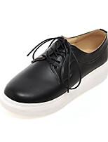 baratos -Mulheres Sapatos Confortáveis Couro Ecológico Primavera Tênis Sem Salto Dedo Fechado Branco / Preto / Prateado