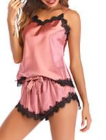 abordables -V Profond Bustiers Correspondants Pyjamas Femme Couleur Pleine