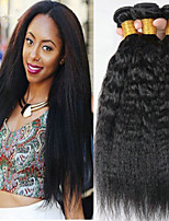 abordables -Lot de 4 Cheveux Malaisiens Droit Yaki 8A Cheveux Naturel humain Cheveux humains Naturels Non Traités Tissages de cheveux humains Extension Bundle cheveux 8-28 pouce Couleur naturelle Tissages de