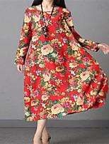 baratos -Mulheres Boho Evasê Vestido - Estampado, Floral Médio