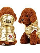 baratos -Cachorros Casacos / Jaquetas de Penas Roupas para Cães Sólido Dourado / Prata Algodão Ocasiões Especiais Para animais de estimação Masculino / Feminino Casual / Aquecimento