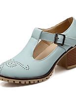 Недорогие -Жен. Комфортная обувь Полиуретан Весна Обувь на каблуках На низком каблуке Бежевый / Синий / Розовый