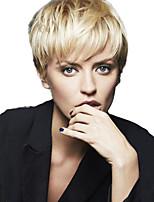 Недорогие -Необработанные натуральные волосы Лента спереди Парик Бразильские волосы Волнистый Золотистый Парик Стрижка под мальчика 150% Плотность волос с детскими волосами с клипом Золотистый Жен. Короткие