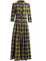 baratos -Mulheres Básico Camisa Vestido Xadrez Longo
