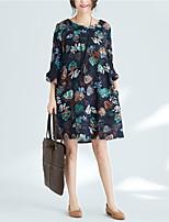 baratos -Mulheres Básico Solto Calças - Floral Flor do sol, Estampado Azul Marinha