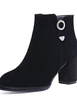 billiga -Dam Fashion Boots Mocka Höst Stövlar Bastant klack Stängd tå Korta stövlar / ankelstövlar Svart