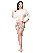 baratos -Dança do Ventre Roupa Mulheres Treino Modal Mocassim / Combinação / Lantejoula Meia Manga Caído Blusa / Calções / Xale de Dança do Ventre