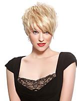 Недорогие -Не подвергавшиеся окрашиванию Лента спереди Парик Бразильские волосы Волнистый Блондинка Парик Стрижка под мальчика 150% Плотность волос Молодежный Блондинка Жен. Короткие