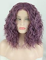 Недорогие -Синтетические кружевные передние парики Жен. Свободные волны / Loose Curl Фиолетовый Средняя часть 180% Человека Плотность волос Искусственные волосы 14 дюймовый / Лента спереди / Лента спереди