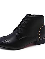 Недорогие -Жен. Fashion Boots Полиуретан Зима Ботинки На толстом каблуке Квадратный носок Ботинки Черный