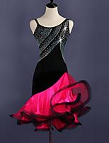 baratos -Dança Latina Vestidos Mulheres Treino Elastano / Tule Cristal / Strass Sem Manga Alto Vestido