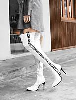 Недорогие -Жен. Fashion Boots Полиуретан Зима Ботинки На шпильке Заостренный носок Сапоги выше колена Белый / Черный / Для вечеринки / ужина