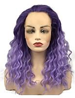 abordables -Perruque Lace Front Synthétique Bouclé Partie médiane Cheveux Synthétiques 22 pouce Synthétique Violet Perruque Femme Long Dentelle frontale Bright Purple