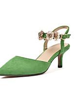 Недорогие -Жен. Комфортная обувь Наппа Leather Лето Обувь на каблуках На шпильке Черный / Зеленый