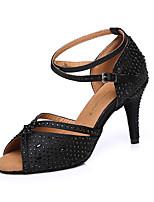 abordables -Femme Chaussures Latines Satin Talon Strass Mince haut talon Chaussures de danse Noir