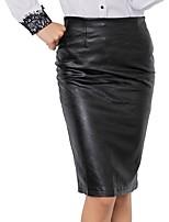 Недорогие -женская работа / вечеринка длиной до колен Bodycon юбки - сплошная цветная талия