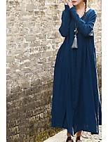 Недорогие -Жен. Большие размеры Хлопок Свободный силуэт Брюки Завышенная Синий / Макси / V-образный вырез / Пляж