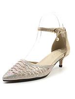 Недорогие -Жен. Комфортная обувь Синтетика Лето Обувь на каблуках На низком каблуке Золотой / Серебряный / Свадьба