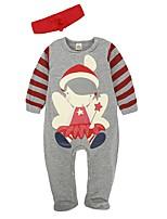 Недорогие -малыш Девочки Классический Рождество Полоски Длинный рукав Хлопок 1 предмет Серый 80