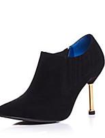 baratos -Mulheres Fashion Boots Camurça Inverno Botas Salto Agulha Dedo Fechado Botas Curtas / Ankle Preto / Cinzento