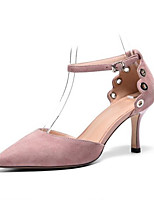 Недорогие -Жен. Комфортная обувь Замша Лето Обувь на каблуках На шпильке Черный / Розовый