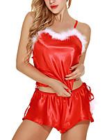 Недорогие -Жен. Сексуальные платья Костюм Ночное белье - Кружева, Рождество Однотонный