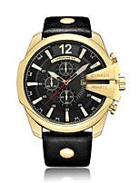 Недорогие -CURREN Муж. Спортивные часы Японский Японский кварц 30 m Защита от влаги Календарь Фосфоресцирующий Кожа Группа Аналоговый На каждый день Мода Черный - Черный и золотой Черный / Серебристый