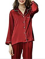Недорогие -Жен. Рубашечный воротник Костюм Пижамы Однотонный