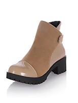 Недорогие -Жен. Fashion Boots Искусственная кожа Наступила зима Ботинки На толстом каблуке Круглый носок Ботинки Черный / Красный / Верблюжий
