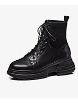 Недорогие -Жен. Fashion Boots Наппа Leather Осень Ботинки Микропоры Закрытый мыс Ботинки Черный