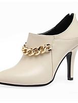 Недорогие -Жен. Fashion Boots Полиуретан Весна Ботинки На шпильке Закрытый мыс Ботинки Черный / Красный / Миндальный