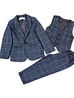 Недорогие -Дети Мальчики Уличный стиль В клетку Длинный рукав Обычная Полиэстер Набор одежды Синий 110