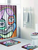 baratos -1conjunto Tradicional Tapetes Anti-Derrapantes Poliéster Elástico Tricotado 100g / m2 Inovador Retângular Banheiro Fofo