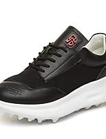 Недорогие -Жен. Комфортная обувь Наппа Leather Весна Кеды На плоской подошве Закрытый мыс Белый / Черный