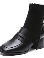 billiga -Dam Fashion Boots PU Höst vinter Ledigt Stövlar Block Heel Fyrkantig tå Stövletter Svart