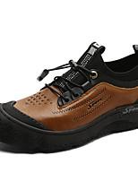 Недорогие -Муж. Кожаные ботинки Кожа Осень Винтаж / На каждый день Кеды Сохраняет тепло Черный / Коричневый