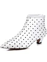 baratos -Mulheres Sapatos Confortáveis Com Transparência Primavera Verão Botas Salto Robusto Branco / Preto