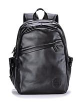 Недорогие -Муж. Мешки PU рюкзак Молнии Сплошной цвет Черный / Темно-коричневый
