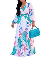 billiga -kvinnors swing klänning hög midja maxi v nacke